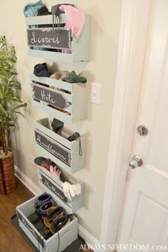 Save yourself from picking up snowy hats and scarves off the floor with this genius DIY wall crate storage. Paint several wall crates with a few coats of paint, then spray with polyurethane to protect them from water damage. This DIY project will create a functional system that easily stores winter apparel and minimizes the wet mess left behind from snowy, outdoor fun.