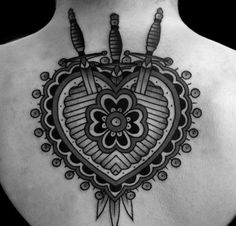 Awesome tattoo on the back. Heart and 3 daggers. #tattoo #tattoos #ink #inked
