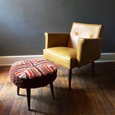 A personal favorite from my Etsy shop https://www.etsy.com/listing/233961407/modern-retro-ottoman-shag-footstool