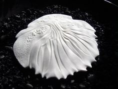Ceramics by Maggie Barnes at Studiopottery.co.uk - Porcelain Shell Discus - hand built & carved - unglazed - 13cms diameter.