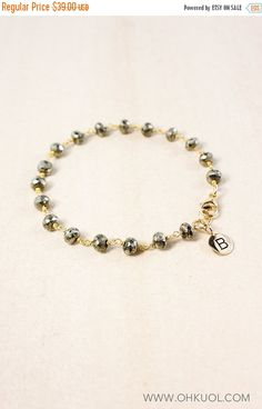 ON SALE Black Pyrite Name Bracelet  Beaded Initial Charm by OhKuol