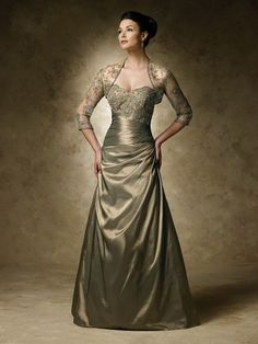 A-line Strapless Sleeveless Satin Mother of the Bride Dresses With Beaded #FN109