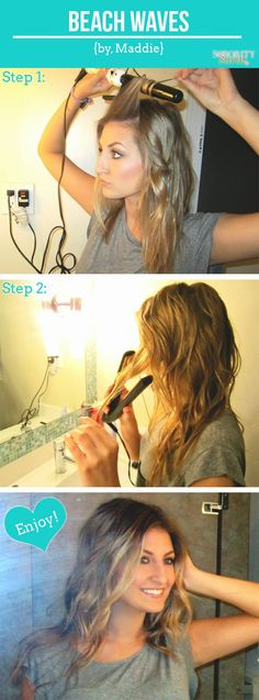 The Sorority Secrets: Beach Waves Hair Tutorial. Looks like you curl ur hair then straighten it. sounds like a lot of work. Hair Day, New Hair, Cheveux Courts Funky, Beach Wave Hair, Beach Curls, Corte Y Color, Pretty Hairstyles, Beach Hairstyles, Men's Hairstyle