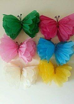Love these tissue paper butterflies-- what a fun DIY decoration for a girl's birthday party! (diy crafts spring paper butterflies)