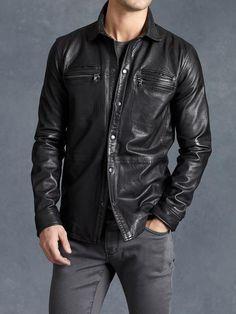 John Varvatos Leather Lambskin Shirt Jacket