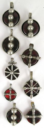 Old Amber and coin silver amulets | Gurage People of Ethiopia.