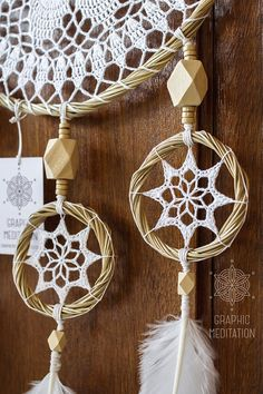 This large white dream catcher will make a great decorative touch to any space. Perfect for wedding ceremony decorations. It also would be a special and unique gift for a birthday or in any other occasion. The dream catcher is intended to protect the sleeping individual from negative dreams, while letting positive dreams through. • The doily is individually knitted from cotton thread • Hoops are hand made from bamboo rods also by myself • Natural goose feathers and wooden beads are used ...