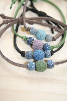 Essential Oil Bracelet, Diffuser Bracelet, Aromatherapy Bracelet, Lava Stone Bracelet, Adjustable Suede Bracelet by EsperanzaViva on Etsy