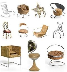 Chairs made for a contest - using 2 champagne corks, and other pieces of the bottles.  Wow!