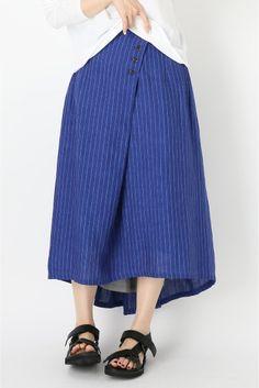 atelier ARCHIVIO リネンストライプ 後ろギャザースカート