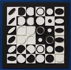 "Noir et Blanc by Victor Vasarely    his unique composition (oil on wood) measures 29.5"" x 29.5"" and was created in 1964."