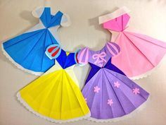Origami And Kirigami, Origami Easy, Origami Paper, Fun Crafts, Diy And Crafts, Crafts For Kids, Paper Crafts, Origami Dress, Disney Princess Party