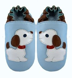Baby boy shoes - wildcubs Puppy blue soft sole leather baby shoes, baby booties, baby slippers for boys or girls