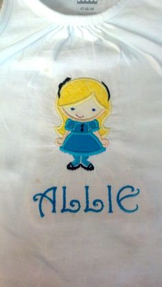 Shirt made for granddaughter.  Appliqued and embroidered.  LynniePinnie.com embroidery designs.
