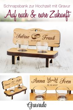 Schnapsbank mit Gravur zur Hochzeit - Personalisiert The alder schnapps bench is a great wedding gift! Whether as a gift for friends or acquaintances, this gift will put a smile on the face of e Great Wedding Gifts, The Wedding Date, Personalized Wedding Gifts, Wedding Couples, Wedding Favors, Presents For Boyfriend, Boyfriend Gifts, Guest Gifts, Wedding Beauty