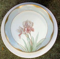 Huge IRIS Botanical 13 inch Platter Charger Hand painted gilded stenciled 1900s ANTIQUE Edwardian Art Nouveau  Porcelain  Maker: HUB Austria