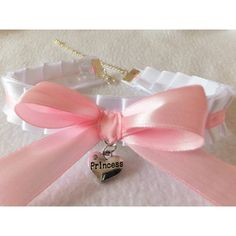 PRINCESS Cosplay Frilly White Pink Ruffled Anime Choker Cat Collar... (26 CAD) ❤ liked on Polyvore featuring accessories