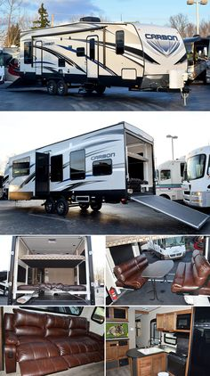 "This new 2015 Keystone Carbon 32 travel trailer TOY HAULER presents all the elements one might need for an active weekend away. Featuring double electric bunk beds in the 10' garage and a single 30gal. fuel tank, a 97"" reclining  sofa in the main living area and maple hardwood cabinetry."