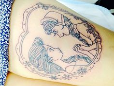 Frozen Anna and Elsa tattoo on leg for girls. Would never get it on my leg but omg it's soo cute.