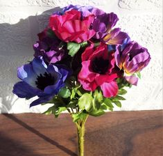 Anemone Flower Bouquet With 9 Beautiful Blooms In Multi Colours