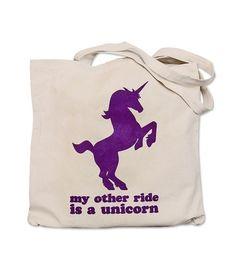 Unicorn Tote Bag  My Other Ride is a Unicorn by theboldbanana, $12.00