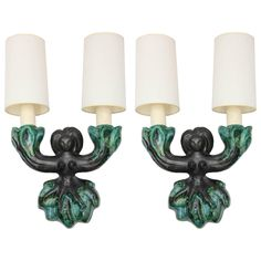 Pair of Art Moderne 1950s French Ceramic Sconces Georges Jouve