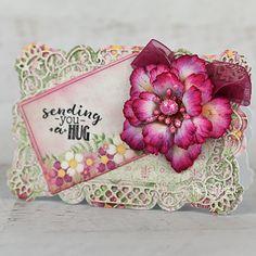 Heartfelt Creations - A Hug with Roses Card Making Tutorials, Making Ideas, Heartfelt Creations Cards, Paper Fans, Stampin Up Christmas, Elegant Flowers, Card Maker, Card Kit, Flower Shape