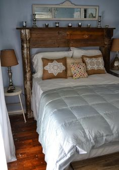Love these long mirrors (over the headboard/mantel)