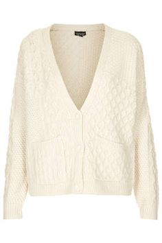 Womens Knitted Patch Cable Cardigan - Cream, Cream - £35 on Vein - getvein.com