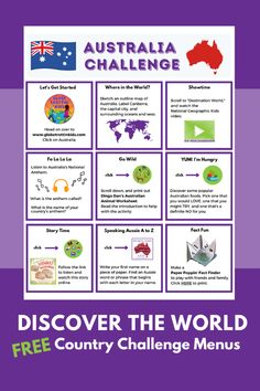 Young explorers discover the world through our website country profile pages and engaging country challenge menus (online and printable).  Students learn about the geography and culture of Australia through a video, read-aloud, and a variety of fun activities. #Australia #AustralianFood #AustralianAnimals #AustraliaBooks #SpeakingAussie #WombatWalkabout #GeographyForKids #GeographyActivities #GlobalLearning #SocialStudies #DistanceLearning #RemoteLearning #AtHomeLearning #ActivitiesforKids… Geography Activities, Geography For Kids, Teaching Geography, World Geography, Activities For Kids, Stem Activities, Study History, History Education, Teaching History
