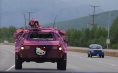 A Hello Kitty armored personnel carrier. Note: I'm not going to pin all the photos from the 'Hello Kitty Combat Gear' source page but I highly recommend checking it out! Hello Kitty Car, Hello Kitty Items, Kitty Kitty, Armoured Personnel Carrier, Kawaii, You Are Awesome, Sanrio, Cool Cats, Girly Things