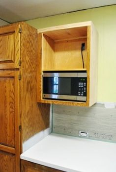 Build Kitchen Cabinets Industrial Hoods Stainless Steel A Wall Built In Microwave Cabinet Keeps Counter Clear And Is Article Building Goodbye Hello Young House Love