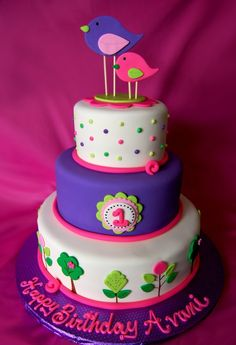1st Birthday bird cake — Children's Birthday Cakes