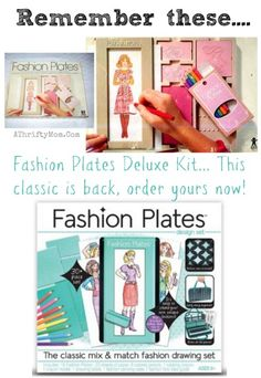 Fashion Plates Deluxe Kit retro toy from the 80s is back and you can order it again, this was my favoirte toy as a little girl. Barbie fashion plate