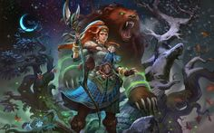 Card art I did for the newest Addition to the celtic Pantheon in SMITE: Artio – Goddess of Bears.  © Hirez studios