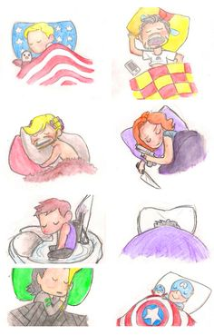 #Avengers: Sleep styles. (That last one is Coulson with his Captain America plushy!)