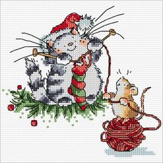 Margaret Sherry stocking knitting Christmas cat and mouse-Cross stitch Communication Cross Stitch Stocking, Xmas Cross Stitch, Cross Stitch Charts, Cross Stitch Designs, Cross Stitching, Cross Stitch Embroidery, Cross Stitch Patterns, Cross Stitch Christmas Ornaments, Christmas Embroidery
