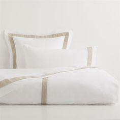 Contrasting Linen Trim Egyptian Percale Bed Linen