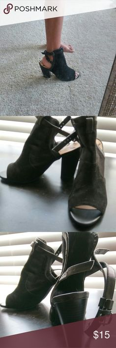 Black Peep Toe Booties Suede. Like new. Selling because the size is too big for me. Shoes Ankle Boots & Booties