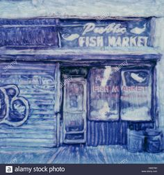 Download this stock image: Public Fish Market storefront. Harlem. 2004 Polaroid sx70 scan. - hw279h from Alamy's library of millions of high resolution stock photos, illustrations and vectors.