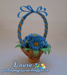 quilling my passion: Flower basket Paper Quilling Patterns, 3d Quilling, Quilling Flowers, Quilling Designs, Paper Flowers, Paper Art, Paper Crafts, Diy Crafts, Flower Basket