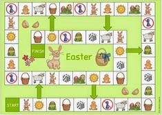 Easter game Easter Worksheets, English Worksheets For Kids, English Games, Bunny Crafts, Easter Crafts For Kids, Cute Crafts, Board Game Template, Printable Board Games, Easter Games