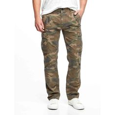 Old Navy Mens Canvas Cargos ($35) via Polyvore featuring men's fashion, men's clothing, old navy mens clothing, men's apparel and mens clothing