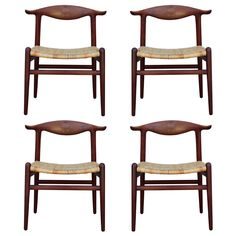 1stdibs | Rare set of four teak Cowhorn chairs by Hans Wegner