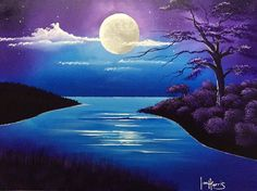 Acrylic moon over lake painting in purple, blues, white and black.