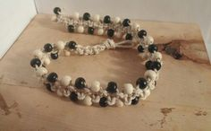 This item is unavailable Wooden Beads, Festival Fashion, Hemp, My Etsy Shop, Chokers, Beaded Bracelets, Black And White, Stuff To Buy, Handmade