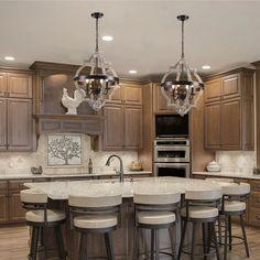 Kitchen Cabinet Color Schemes, Kitchen Cabinet Styles, Dark Wood Kitchen Cabinets, Kitchen Redo, Kitchen Layout, Home Decor Kitchen, Kitchen Interior, Home Kitchens, Kitchen Remodel