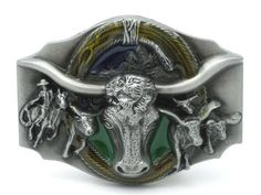 Longhorn Bull Rodeo Western Belt Buckle