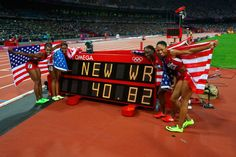 London 2012 - The reader board shows it clearly, a new world record for team USA (Tianna Madison, Carmelita Jeter, Bianca Knight and Allyson Felix) in the women's 4x100m relay. 2012 Getty Images