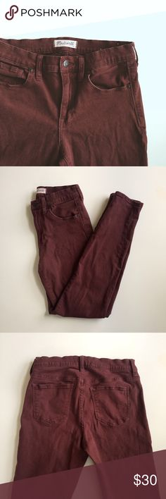 """Madewell Burgundy Garment-Dyed Skinny Skinny Jeans High-rise maroon skinny jeans from Madewell. Would be adorable with a chambray shirt and sneakers, or dressed up with a nice blouse and ankle booties. Size 27 with 29"""" inseam. Offers are welcome! Madewell Pants Skinny"""